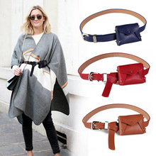 FEECOLOR Fashion Women Waistband with pocket Pack Femal Soft PU Leather Belt  Handfree cummerband Pouch Fanny Bag