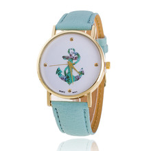 Free delivery New Style Anchor Leather-based Quartz Clock Informal watch Gown Girls Watch Women Classic Flower Watch