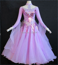 Pale Purple Modern Waltz Tango Ballroom Standard Ballroom Dress Girls Women Modern Dance Wear Custom-made Size B-0095