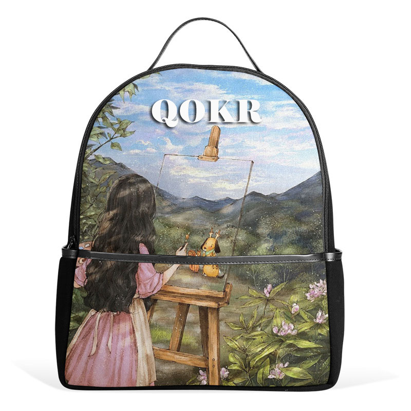 QOKR backpack women canvas high school bags female mochilas students backpacks for adolescent girls drawing nature