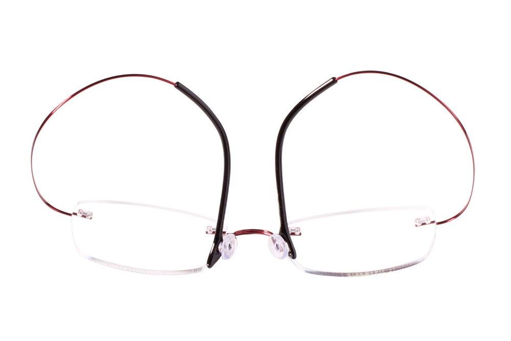 Pink Randlose optische red Verordnungs purple Hingeless Agstum Rx Rahmen Brillen Gläsern Reintitan Klaren Frauen PfnC5q
