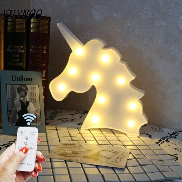 fac594a344f YNYNOO Luces Led Partido Colorido Cuadro Unicornio Figuras 3D Animal Cartel  Marquesina Iluminación Con Control Remoto