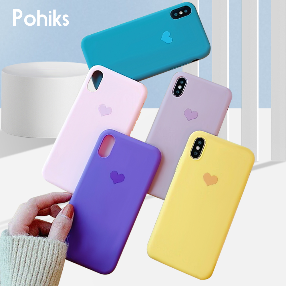 Pohiks Shockproof TPU Silicone Soft Case For iphone 7 8 6 6s plus Cute Love Heart Cover iPhone X XS Max XR
