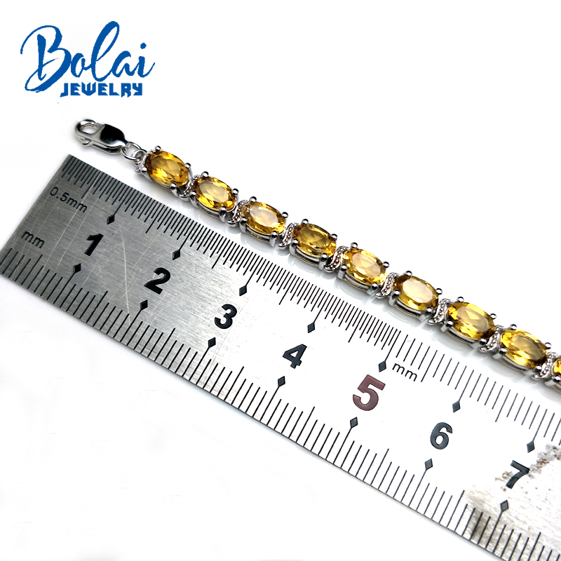 Bolaijewelry,Natural Brazil Citrine oval 4*6mm 24ct gemstone bracelet 925 sterling silver fine jewelry  women anniversary giftBolaijewelry,Natural Brazil Citrine oval 4*6mm 24ct gemstone bracelet 925 sterling silver fine jewelry  women anniversary gift