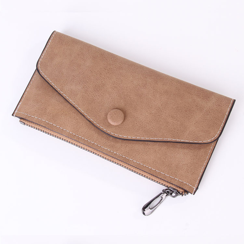 Women Long Wallet PU Leather Zipper Frosted Ultra-thin Casual Cell Phone Pocket Coin Bag slimming narrow feet zipper fly special cross print purfle pocket men s casual long pants