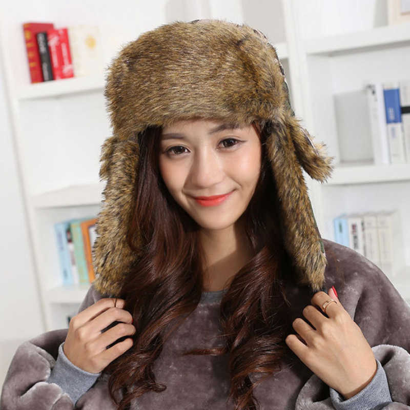 2b8a8c6a3f1 HT1379 Unisex Winter Warm Bomber Hats Men Women Russian Ushanka Caps  Classic Camouflage Faux Fur Trapper
