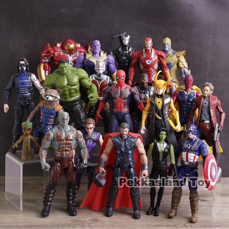 Figuras de acción de la guerra del infinito de Los Vengadores juguetes Iron Man Capitán América Hulk Thor Thanos Spiderman Loki Pantera Negra Hulk