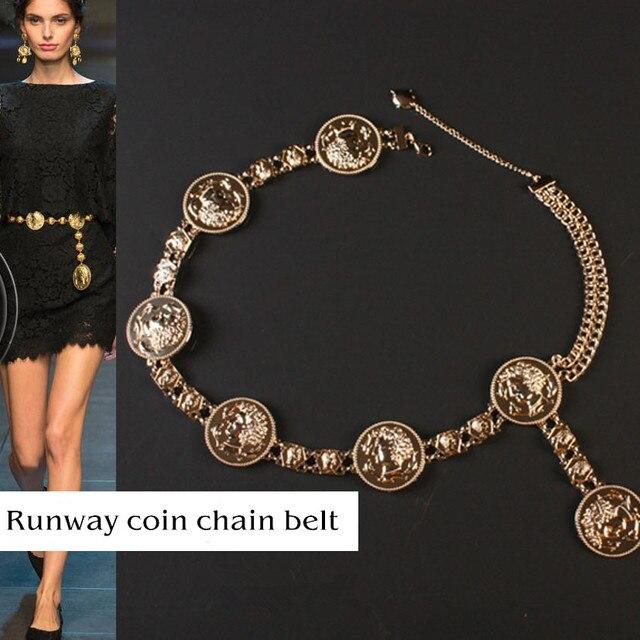 Marca de luxo cc correia do Metal do vintage Exagero Esculpida Borla Cadeia de Cintura Cinto de moedas de ouro Da Noiva Do Casamento Das Mulheres do desenhador Pista