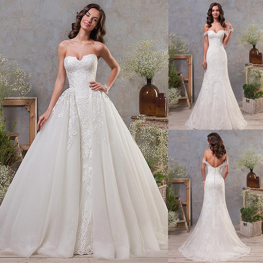 Lace Appliques Tulle Off-the-shoulder Wedding Dress with Detachable Skirt
