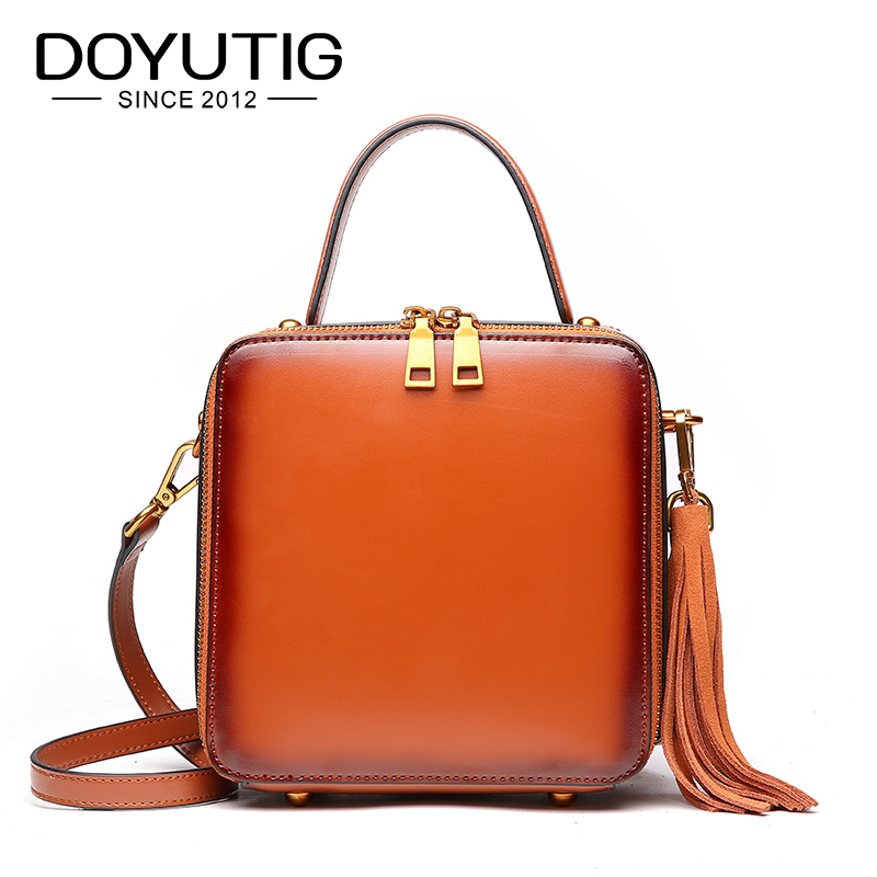 DOYUTIG Simple Design Womens Genuine Leather Square Flap With Tassel Luxury Fashion Cross-body Bags For Lady Casual Totes F626DOYUTIG Simple Design Womens Genuine Leather Square Flap With Tassel Luxury Fashion Cross-body Bags For Lady Casual Totes F626