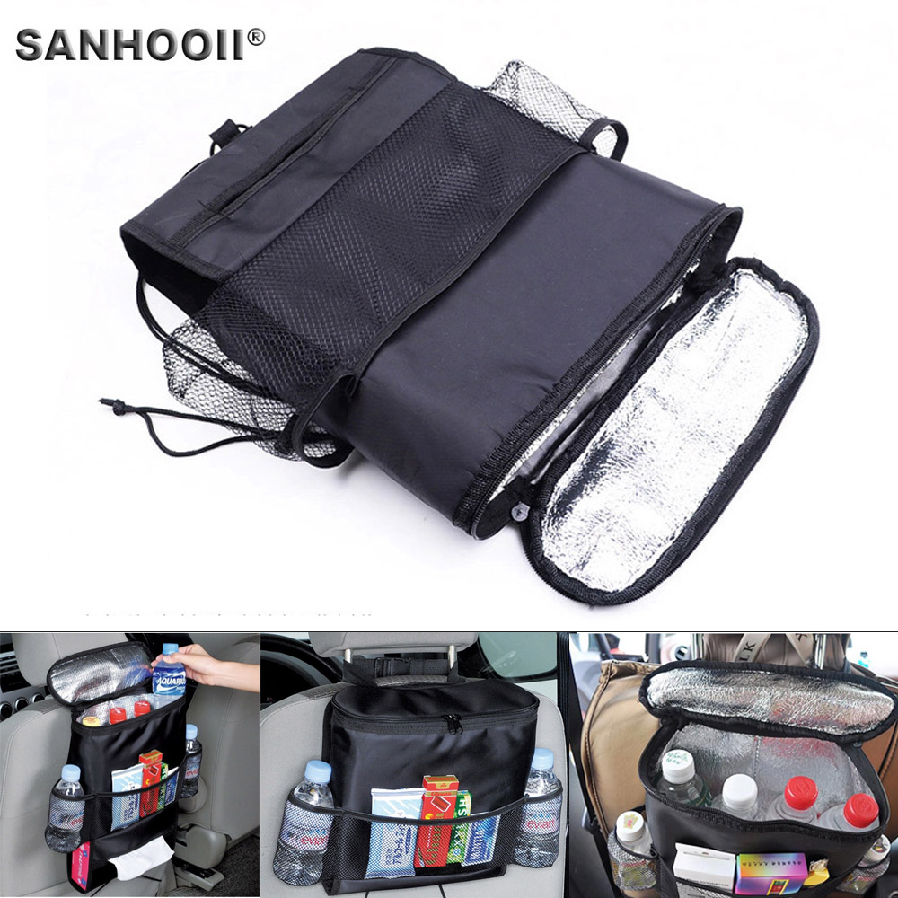 Car Seat Back Organizer Cooler Insulated Bag Beverage Drink Food Storage Container Basket Stowing Tidying Oxford Bag Car Styling ...
