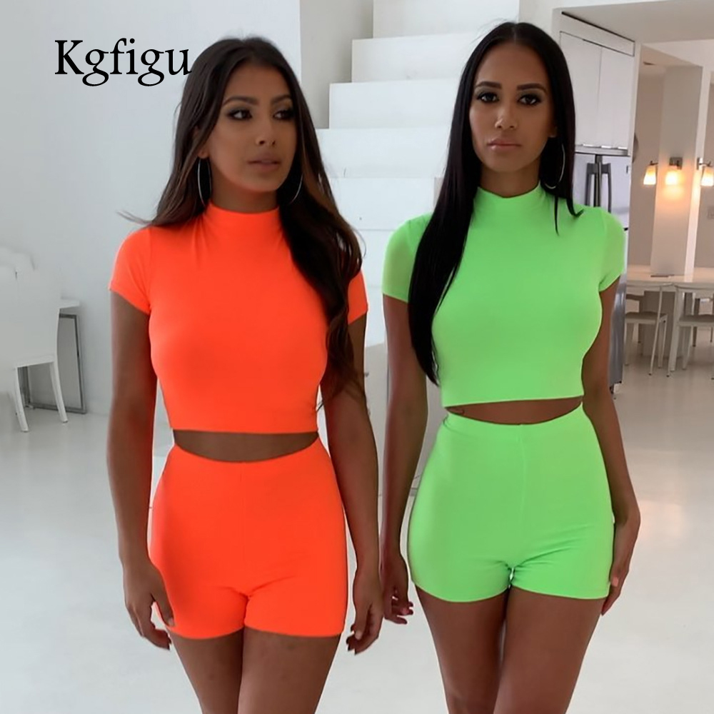 KGFIGU two piece set 2019 Summer high neck short sleeve cropped tops and shorts tracksuits women outfits 2 piece set women