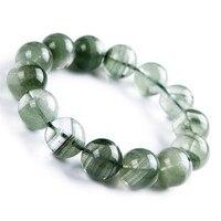 ירוק טבעי אמיתי פנטום קוורץ קריסטל ריפוי חרוז אבן נשים למתוח צמיד 16 מ