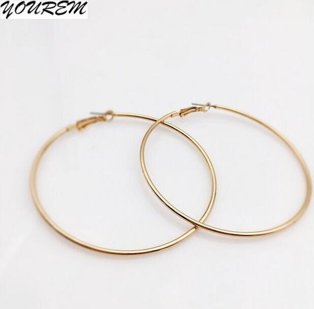 66mm Alloy Party Wedding Thin Big Hoop Earrings For Women Alloy Nickel Free Drop Ship Ok Gold Color Wj466