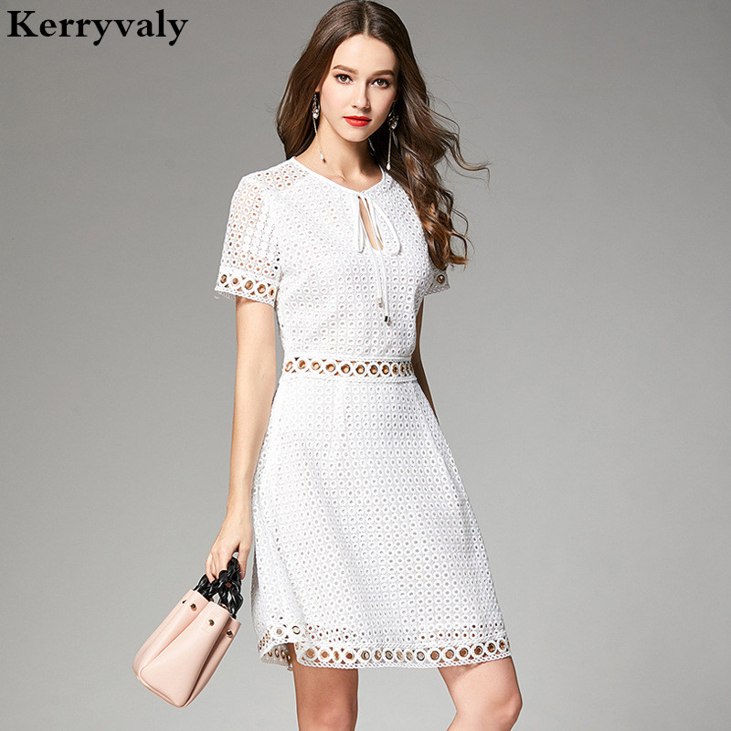 High End Summer Princess Lace Hollow Out Sexy Dress Vestidos Verano 2019 Mini Beach Party Ladies