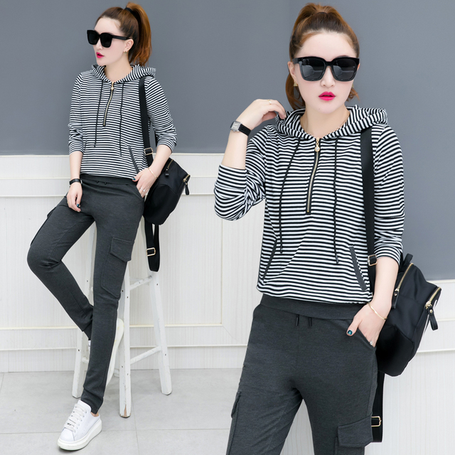 d357612c spring new fashion women sweatshirts hoodie outfit two pcs long-sleeved  striped hoodies suit solid pocket trousers tracksuit
