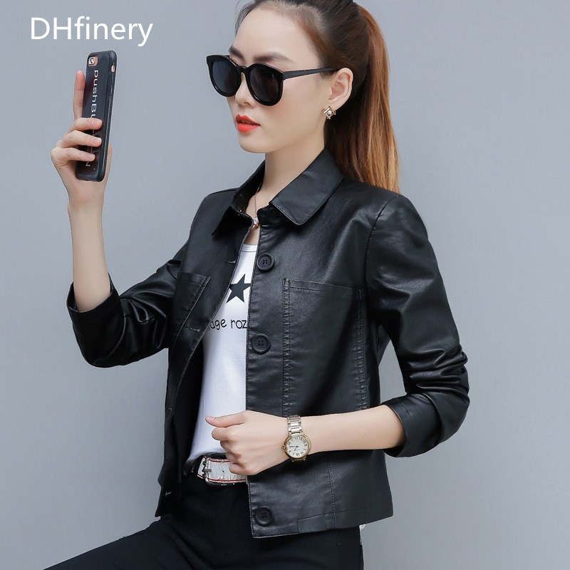 DHfinery   leather   jacket women Fashion lapel Slim Short motorcycle PU jacket Black green caramel faux   leather   jackets TB5722