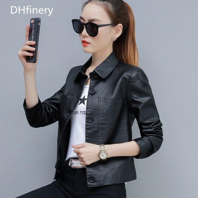 DHfinery leather jacket women New Arrival 2020 Slim Short motorcycle PU jacket Black green caramel faux leather jackets TB5722