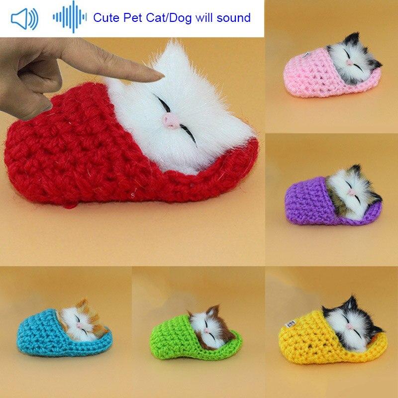 Lifelike Kid Toys Cute Plush Slippers Cat Soft Doll Simulation Sound Toys S7JN