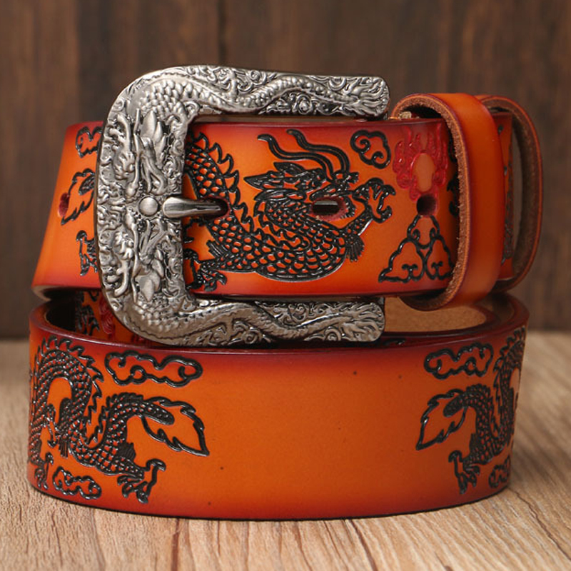 Fashion Chinese Dragon Genuine Leather Belts For men Luxury Big Pin Buckle Men s Dress Belt