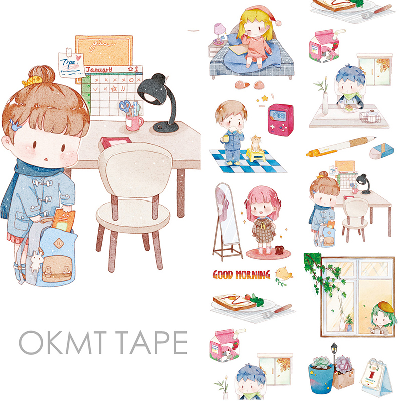 Good Morning Cartoon Washi Tape Papelaria Material Escolar Masking Tape Stickers Scrapbooking Washitape Fita Japanese Stationery
