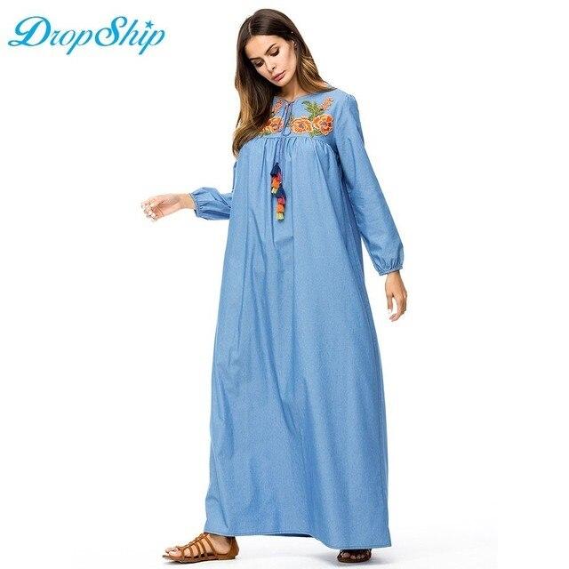 c29f7189b3 Dropship Casual Denim Tall Women Maxi Long Dress Flower Embroidery Tassel  Drawstring Design Swing Dress Fall Plus Size Slim Fit