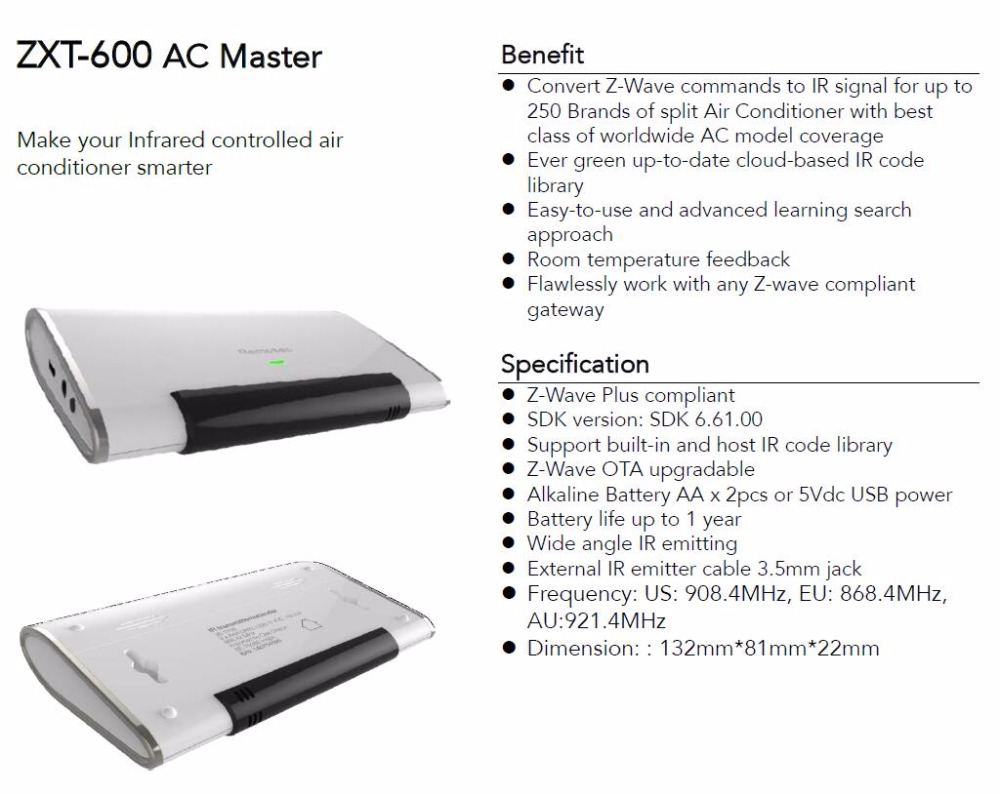 Wireless Z wave Plus Compliant ZXT 600 AC Master for air conditioner