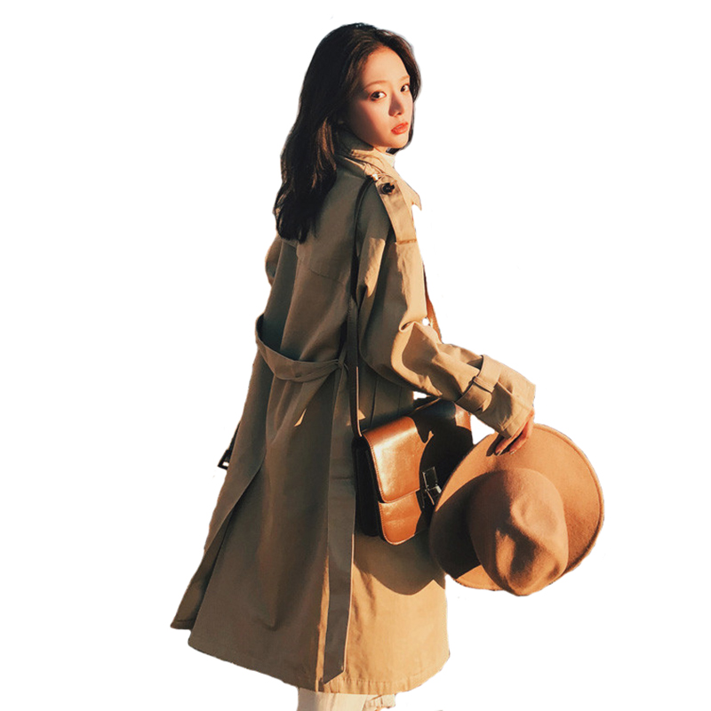 Khaki trench coat for women 2018 Spring autumn long Windbreaker Double-breasted Belt slim female elegant top cotton coats H574