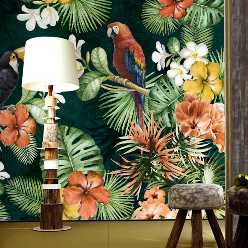 Hand Painted parrot mural Rainforest Tropical plants Cartoon wallpapers living room bedroom custom Any size wallpaper retro table bread glass vegetables fruits hand painted restaurant mural kitchen living room custom wallpaper