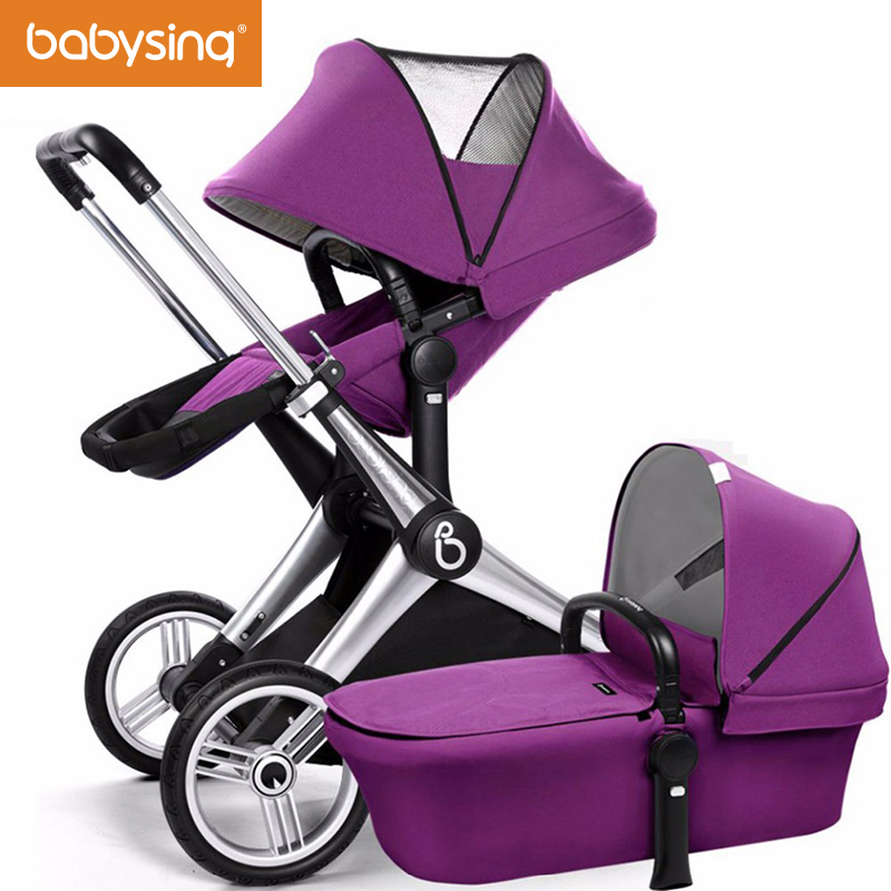 babysing Baby Stroller Reversible Seat Luxury High View Baby Pram Adjustable Handle Pushchair with Independent Bassinet baby stroller with cute ceiling swivel wheel pushchair wide seat deluxe high view traveling trolly with snack tray