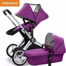 babysing Baby Stroller Reversible Seat Luxury High View Baby Pram Adjustable Handle Pushchair with Independent Bassinet