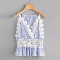 New Style Women Blouse Stripe Lace Casual Sleeveless Crop Top Vest Tank Shirt Blouse Cami Top