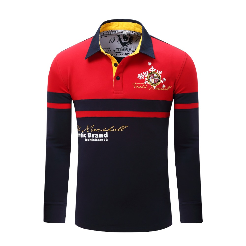 2017 Europe Size New Brand Men's Solid Long Sleeve   Polo   Shirt Autumn Full Sleeve Warm Shirt Casual Printing