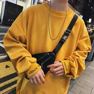 Image 1 - 2020 корейский стиль мужской пуловер с вышивкой в виде букв пальто свободные толстовки хлопковые повседневные однотонные толстовки M XL