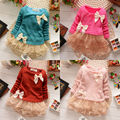 New Casual Girls Top Kid Lace Bow Princess Long Sleeve Dress 3M-2Y Clothes LXJ