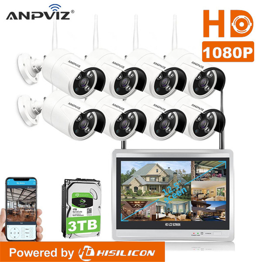 8Ch 1080P WiFi wireless NVR kit with 12 inch LCD Screen Camera Day night security IP Camera System Surveillance NVR Kit