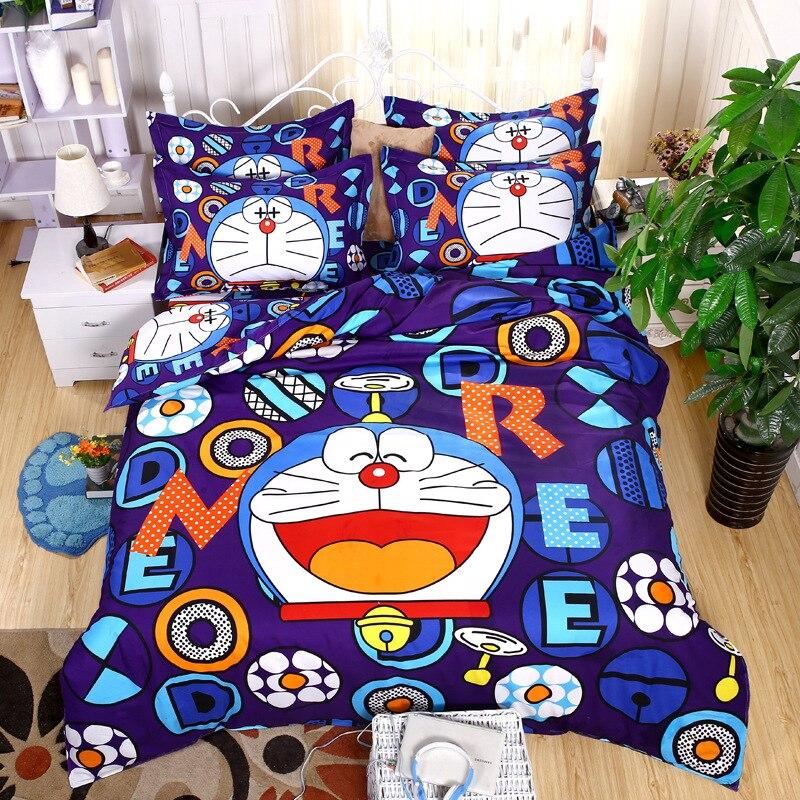 Ensemble de literie De Dessin Animé Doraemon Kitty épaississement ponçage Garder au chaud 4/3 pièces Housse de couette Définit Doux Polyester Drap de Lit Taie D'oreiller