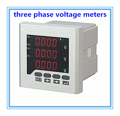 Three phase LED digital voltage measuring AC voltmeter, High quality, high precision to record the voltageThree phase LED digital voltage measuring AC voltmeter, High quality, high precision to record the voltage