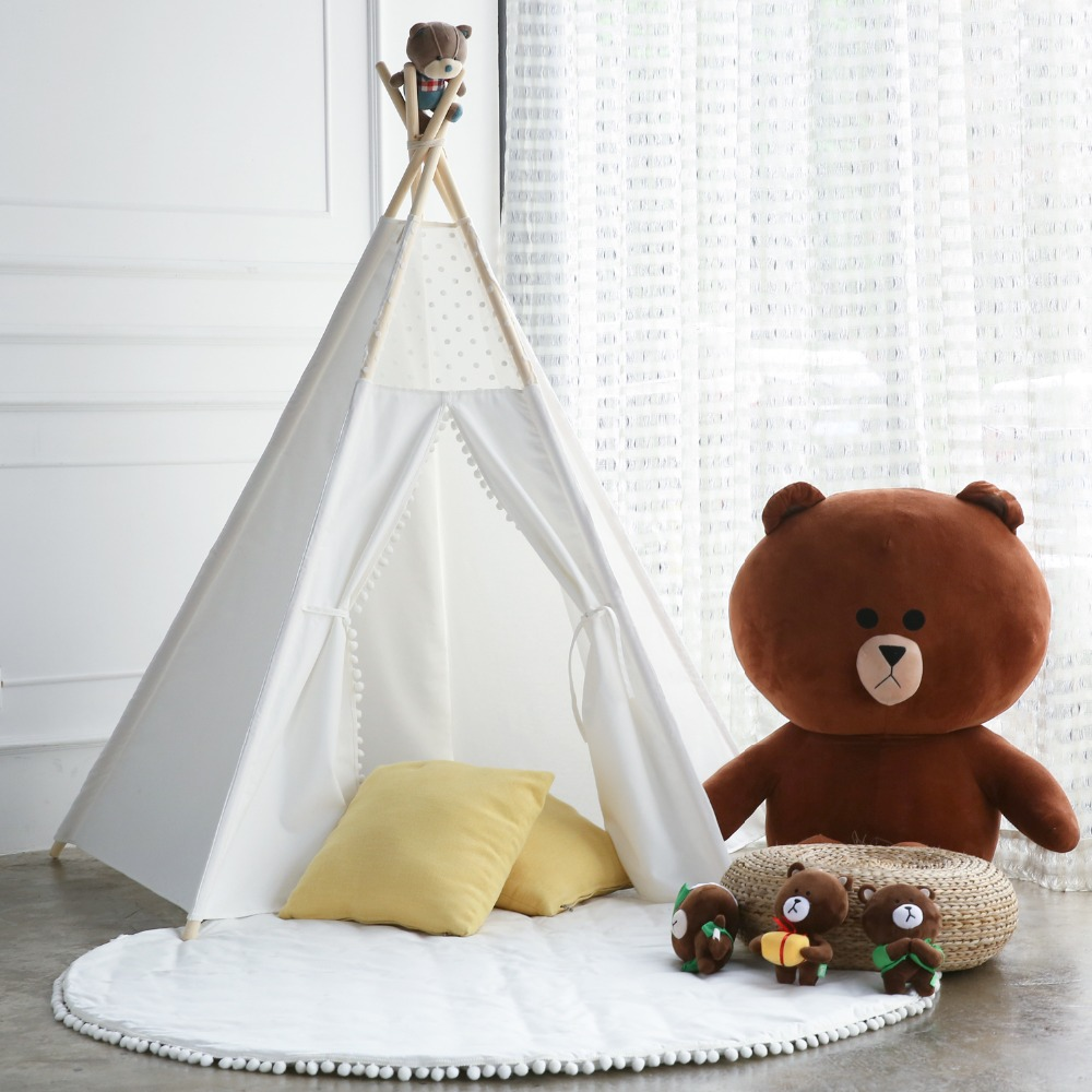 Princess Teepee Fairy Play Tent Large White Lace Pompon Cotton Canvas Indoor Outdoor Kids Tipi Playhouse