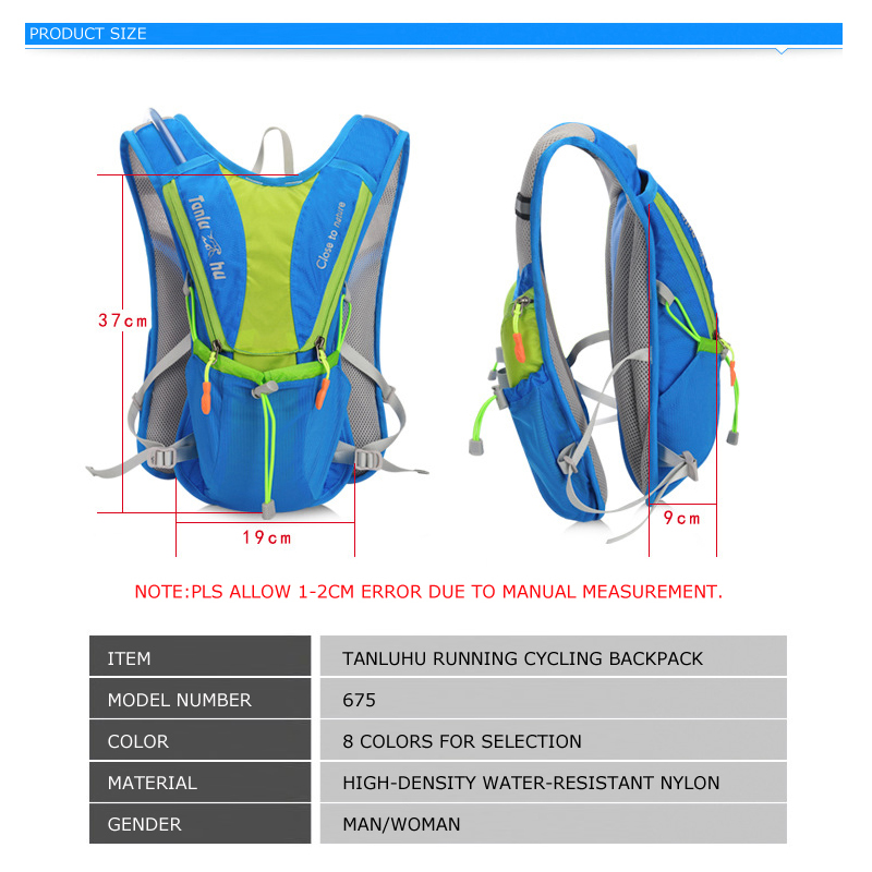 Image 2 - TANLUHU 675 Ultralight Outdoor Marathon Running Cycling Hiking Hydration Backpack Pack Vest Bag For 2L Water Bag Bladder Bottle-in Running Bags from Sports & Entertainment