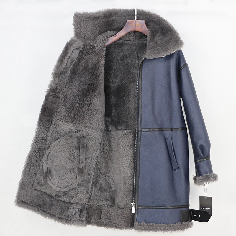 OFTBUY 2019 冬のジャケットの女性本物の毛皮のコート本革ナチュラルメリノ羊の毛皮ライナー両面毛皮ストリートパーカー  グループ上の レディース衣服 からの 本物の毛皮 の中 3