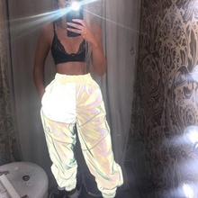 Reflective Stripe Patchwork Gothic Cargo Pants High Waist Women Sweatpant Jogger Streetwear Hot Flash Trouser Hip Hop Night Pant