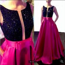 016 Sexy Hot Pink a line Prom Dresses Long Beaded Crystal Op