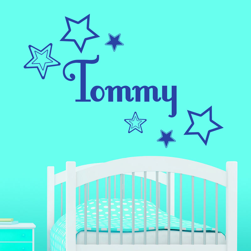 Customize Personalised Name Star Cluster Wall Sticker Kids  Baby Decal Vinyl Transfer Bedroom Decor