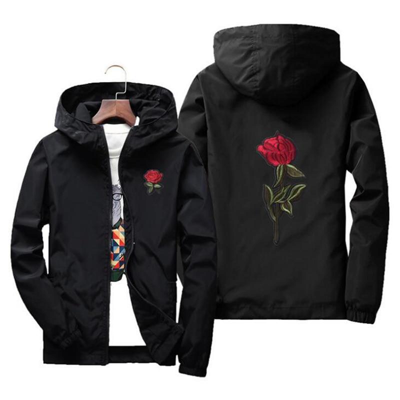 NIANJEEP Spring AND Summer Thin Jacket Men Long Sleeve Black Zipper Windbreaker Men Hip Hop Rose Embroidery Jackets Coat 4xl