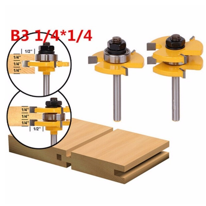 2Pcs Tongue & Groove Router Bit Set 1/4 Inch Shank 3 Teeth T-shape Wood Milling Cutter flooring knife high grade carbide alloy 1 2 shank 2 1 4 dia bottom cleaning router bit woodworking milling cutter for mdf wood 55mm mayitr