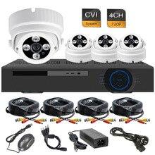 4CH 720 P Em Tempo Real DVR 4 Matriz IR HD-CVI câmera 1.0MP Dome Sistema de Câmera de Segurança