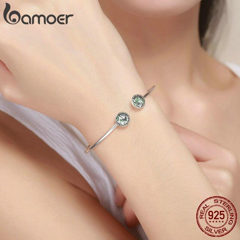 BAMOER authentique 925 en argent Sterling ensembles arbre de vie vert cristal AAA CZ bijoux ensemble en argent Sterling bijoux cadeau ZHS053 - 5