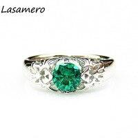 LASAMERO 라운드 0.8ct 에메랄드 솔리테어 젤다 트리 포스 스타일의 925 스털링 실버 웨딩 약혼 반지