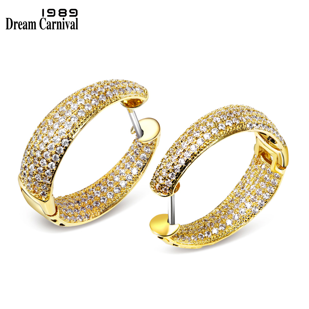 DreamCarnival1989 Women Hoop Earrings Gold Color White Cubic Zircon boucles d